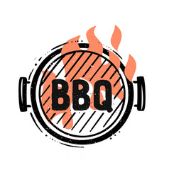 Barbecue grill top view with fire vector