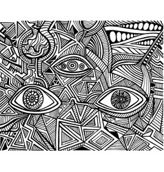 black and white psychedelic eyes crazy patterns vector image