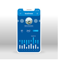 Blue business profile ui ux gui screen for mobile vector