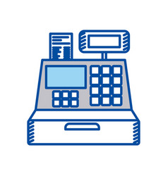Blue contour of cash register vector