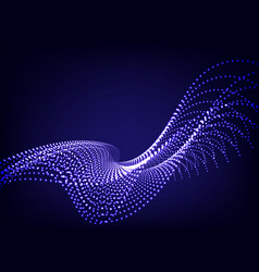 blue wavy wave particle on dark background vector image