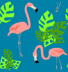 bright flamingo pattern seamless pattern vector image