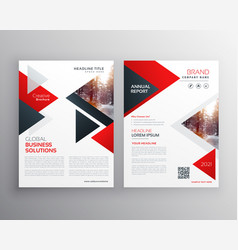 Business brochure in red black triangle shape vector