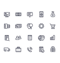 business commerce line icons on white vector image