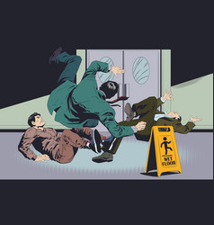 Businessmans falls on wet floor warning sign vector