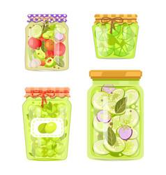 Canned preserved or pickled vegetable jars poster vector