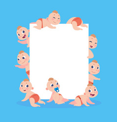 cartoon babies banner newborn children with empty vector image