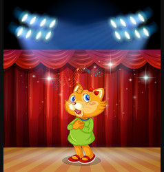 Cat on stage with lights vector