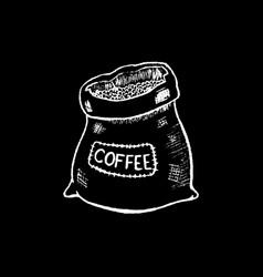 coffee sack white chalk on black chalkboard vector image