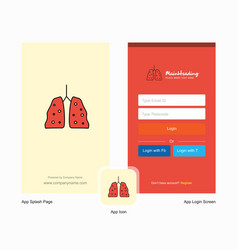 Company lungs splash screen and login page design vector