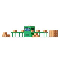 Conveyor belt machine concept isolated on white vector