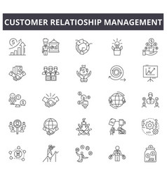 Crm line icons signs set linear concept vector
