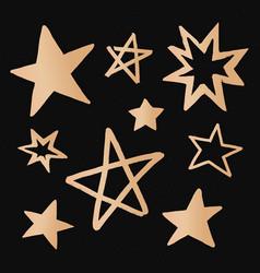 Cute stars gold galaxy doodle sticker vector