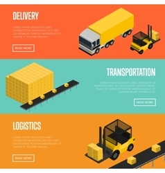 Delivery logistics and transportation banners set vector image