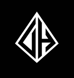 Dh logo letters monogram with prisma shape design vector