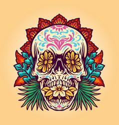 dia de muerto summer skull vector image
