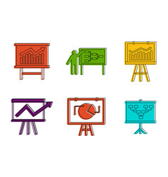 diagram icon set color outline style vector image