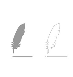 feather grey set icon vector image