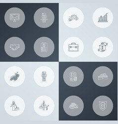 Financial icons line style set with briefcase vector