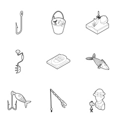 Fishing icons set outline style vector image