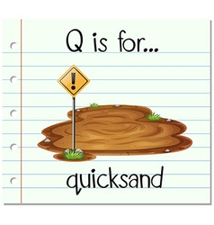 Flashcard letter Q is for quicksand vector