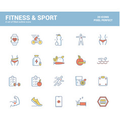 flat line filled icons design-fitness and sport vector image