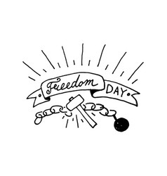 freedom day text design vector image