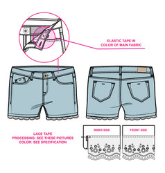 Front and back view of women shorts vector