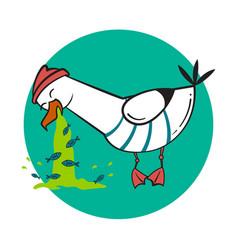 Funny cartoon seagull spew vector