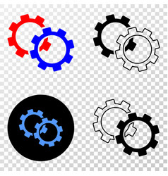 gears eps icon with contour version vector image