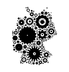 Germany map silhouette mosaic of cogs and gears vector