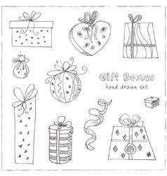 gift boxes doodle set vintage vector image