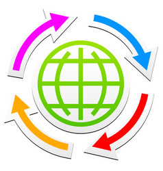 globe outline symbol with arrows vector image