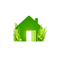 green house with real grass vector image