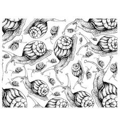 Hand drawn wallpaper background autumn snails vector