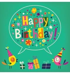 Happy Birthday card with cute birds vector image