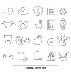 healthy lifestyle icons set healthy lifestyle vector image