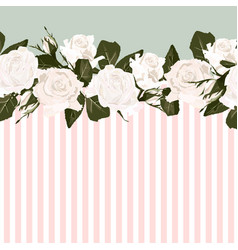horizontal striped pattern with white rose peony vector image