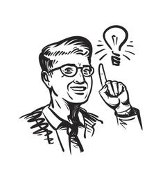 Idea concept with man and lightbulb Retro sketch vector