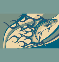 jumping salmon fish with flames vector image