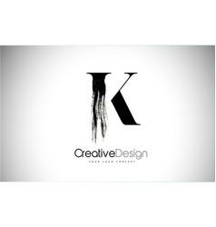 K brush stroke letter logo design black paint vector