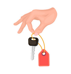 key with a key ring in his hand e-commerce single vector image