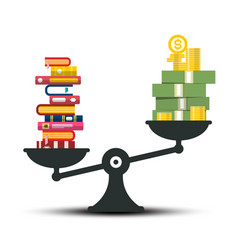 Knowledge - wisdom and wealth comparison books vector