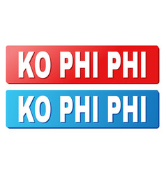 Ko phi caption on blue and red rectangle buttons vector