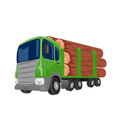Logging truck transporting large logs vector