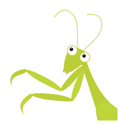 mantis icon in corner cute cartoon kawaii vector image