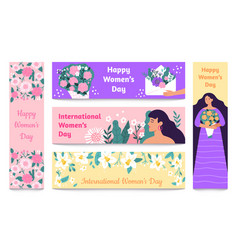 March 8 banners international womens day happy vector