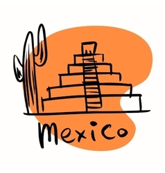 Mexico city Mayan pyramids vector