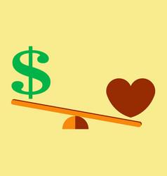 Money weights over heart scales between love vector