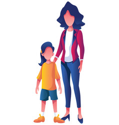 Mother and daughter on white background vector
